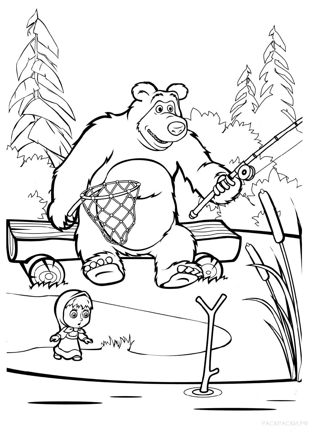 раскраски маша и медведь раскраски рф распечатать