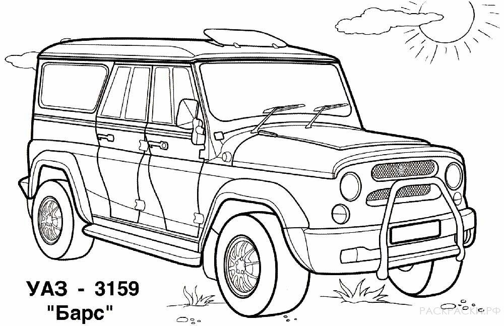 Раскраска машина УАЗ 3159 Барс » Раскраски.рф ...