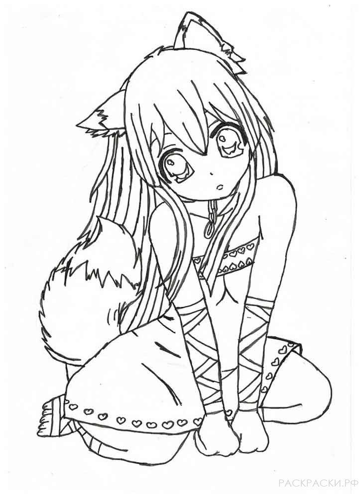 Картинки раскраски аниме кошки
