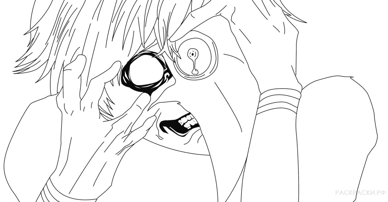 Раскраска Кен Канеки из аниме Токийский гуль » Раскраски ...
