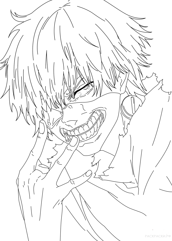 раскраска кен канеки 2 из аниме токийский гуль раскраски