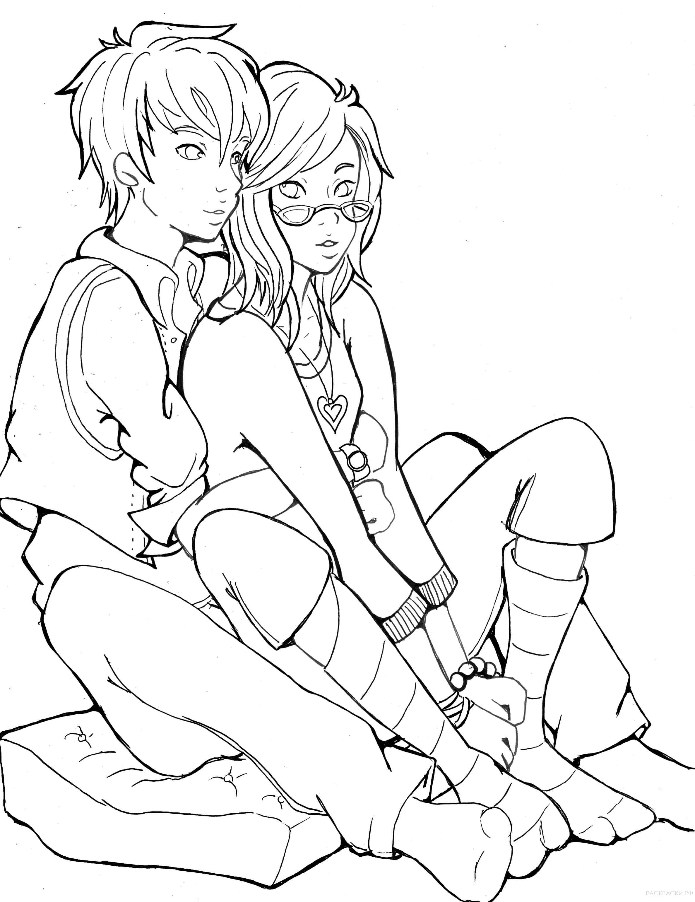 раскраска аниме парень с девушкой раскраски рф