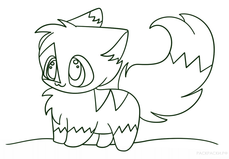 раскраска аниме кошечка в кавай стиле раскраски рф