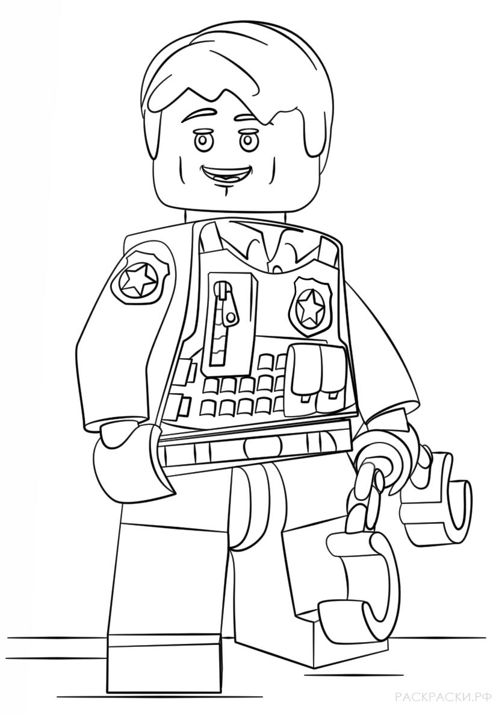 Раскраски лего сити полиция распечатать