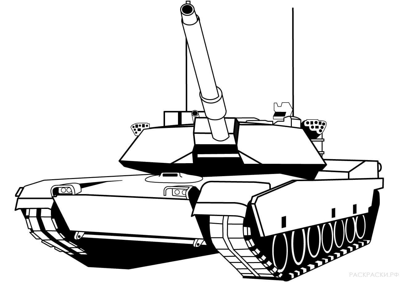 Раскраска танк картинка