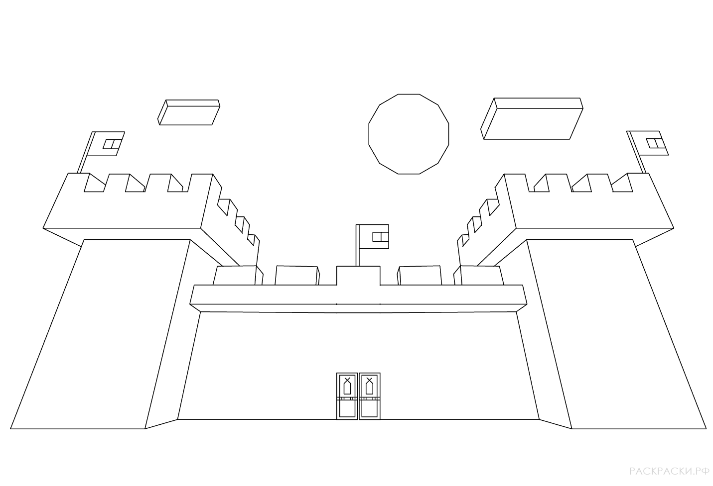 раскраска замок из майнкрафт раскраски рф распечатать
