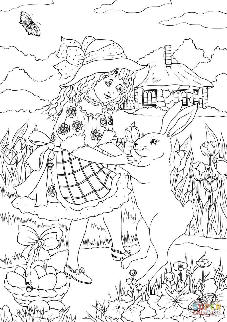 раскраска девочка в платье танцует с пасхальным кроликом