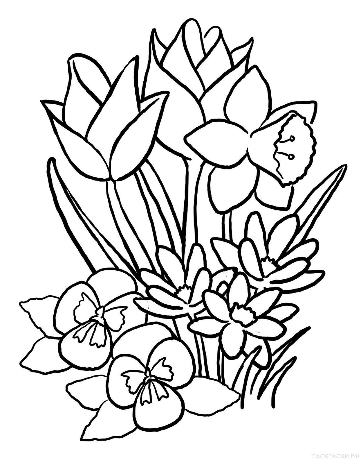 рисунки весенних цветов кончик нитки, шпагатом