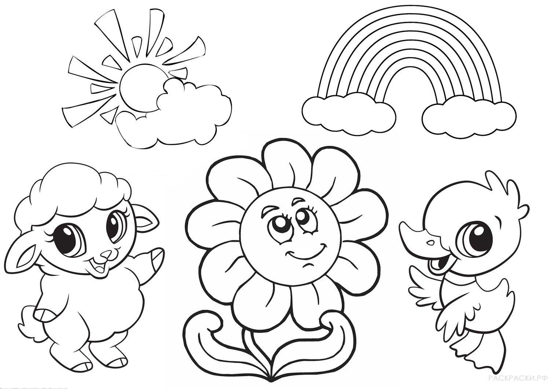 Раскраска Цветок и радуга » Раскраски.рф - распечатать ...