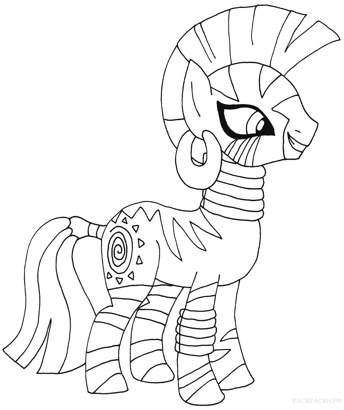 картинки пони в виде раскраски