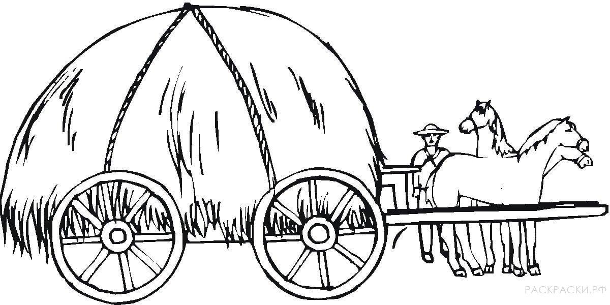 рисунки лошадь с телегой если