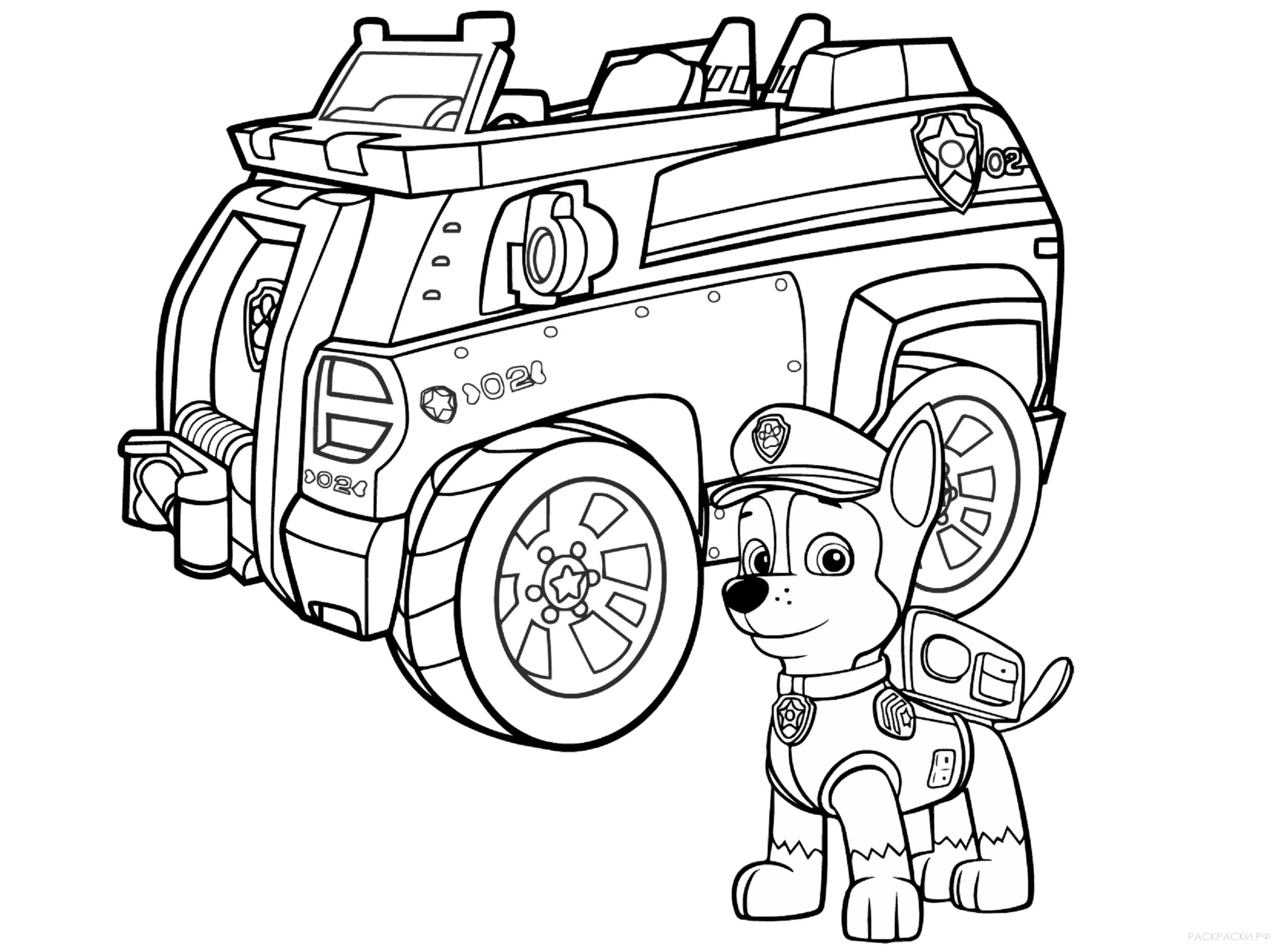 Раскраска Полицейская машина Гонщика из Щенячьего патруля ...