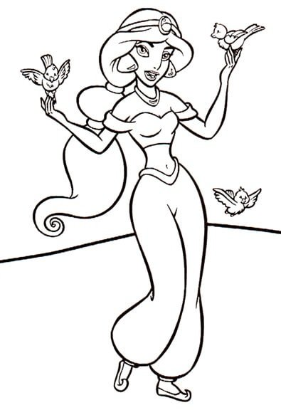 Раскраска Принцесса Жасмин гуляет с птицами