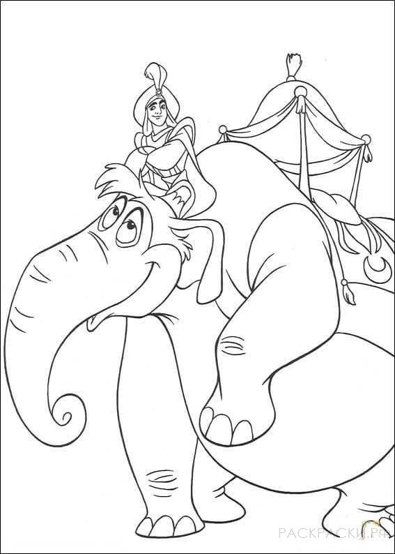 """Раскраска """"Аладдин едет на слоне"""""""