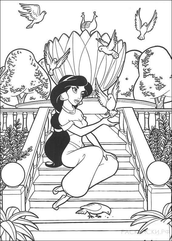 "Раскраска ""Принцесса Жасмин в саду с птицами"""