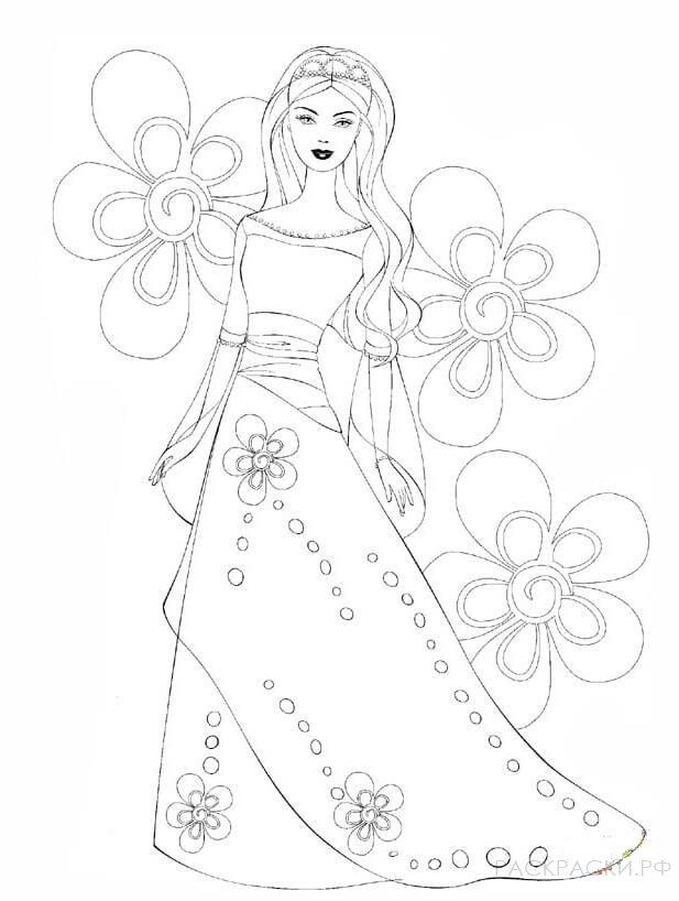 """Раскраска """"Барби в цветах"""""""