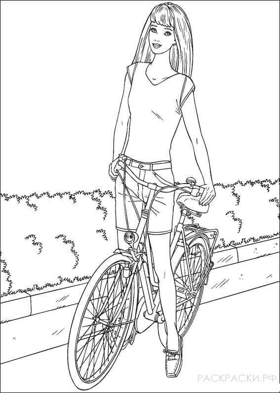 """Раскраска """"Барби катается на велосипеде"""""""
