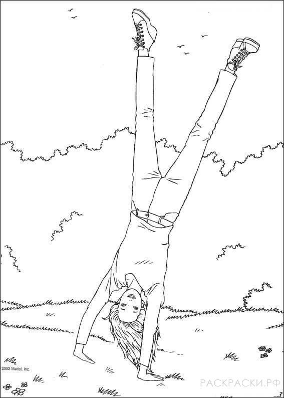 """Раскраска """"Барби стоит на руках в парке"""""""