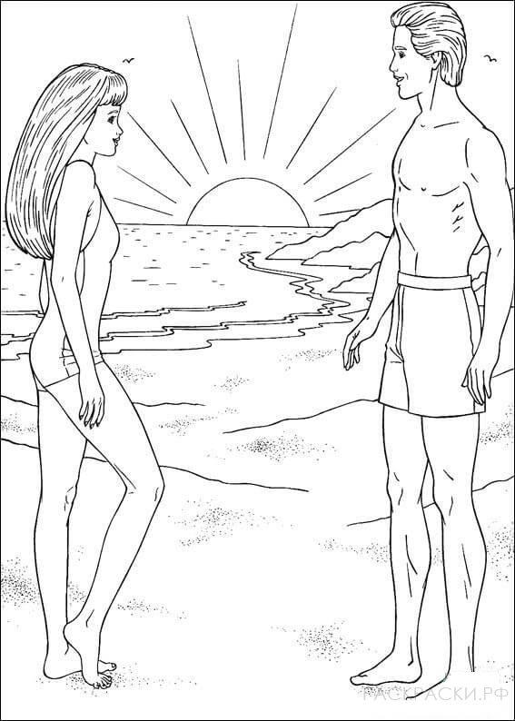 """Раскраска """"Барби на закате на пляже"""""""