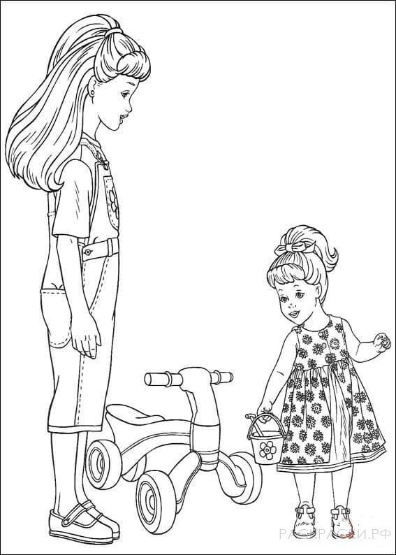 """Раскраска """"Барби с дочкой и детским велосипедом"""""""