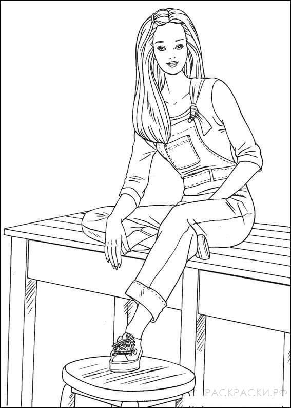 """Раскраска """"Барби сидит на столе"""""""