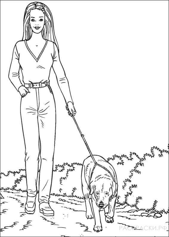 """Раскраска """"Барби выгуливает пса"""""""
