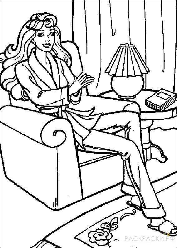 """Раскраска """"Барби в кресле"""""""