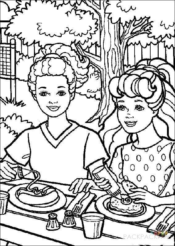 "Раскраска ""Барби с подругой едят хотдоги"""