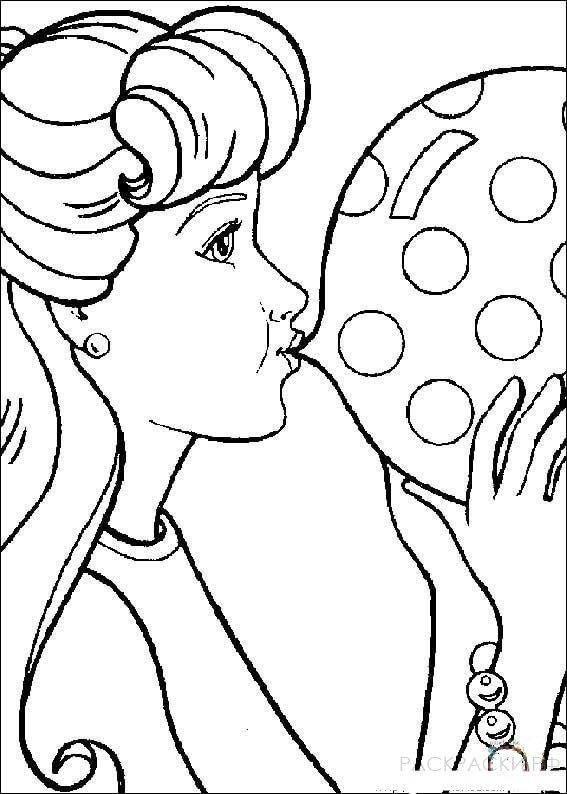 "Раскраска ""Барби надувает шарик"""