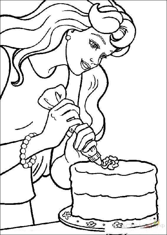 """Раскраска """"Барби готовит торт"""""""