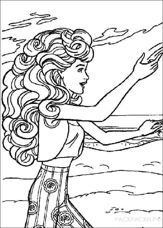 """Раскраска """"Барби с пышными волосами"""""""