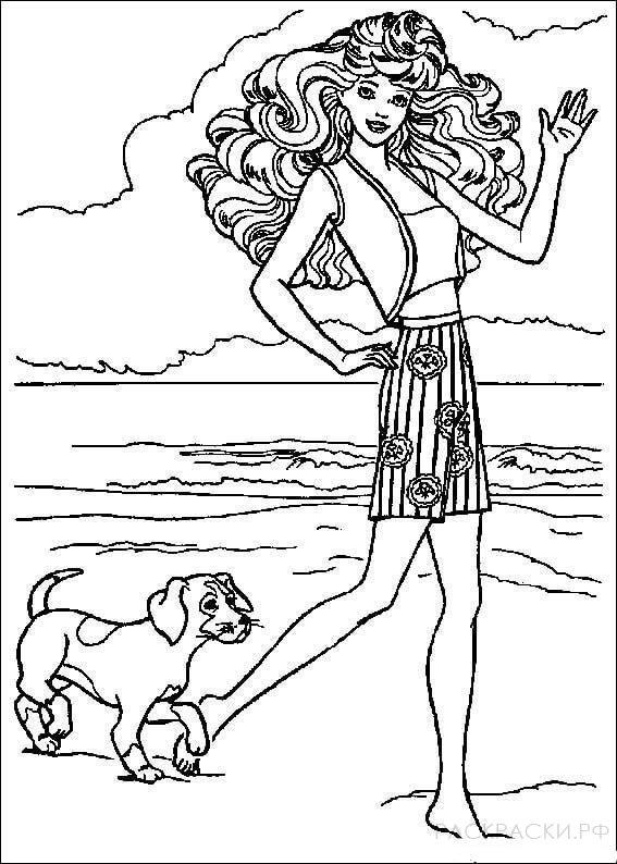 """Раскраска """"Барби со своим псом"""""""