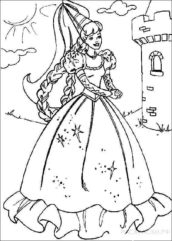 "Раскраска ""Принцесса Барби"""