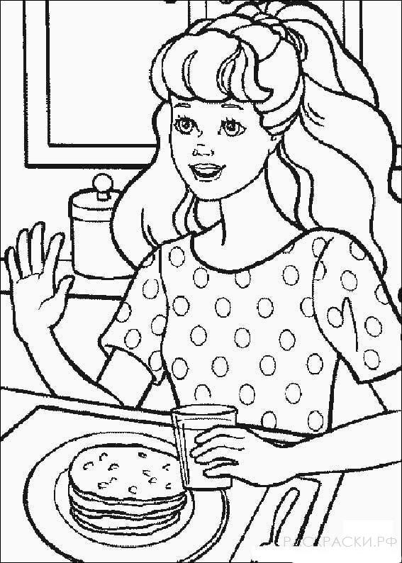 """Раскраска """"Барби ест блинчики"""""""