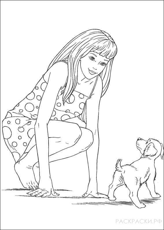 """Раскраска """"Барби играет со щенком"""""""