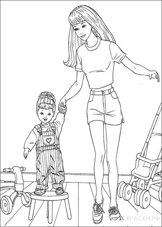 """Раскраска """"Барби с дочкой 2"""""""