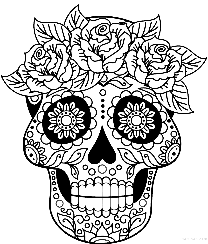 """Раскраска """"Калавера с розами"""""""
