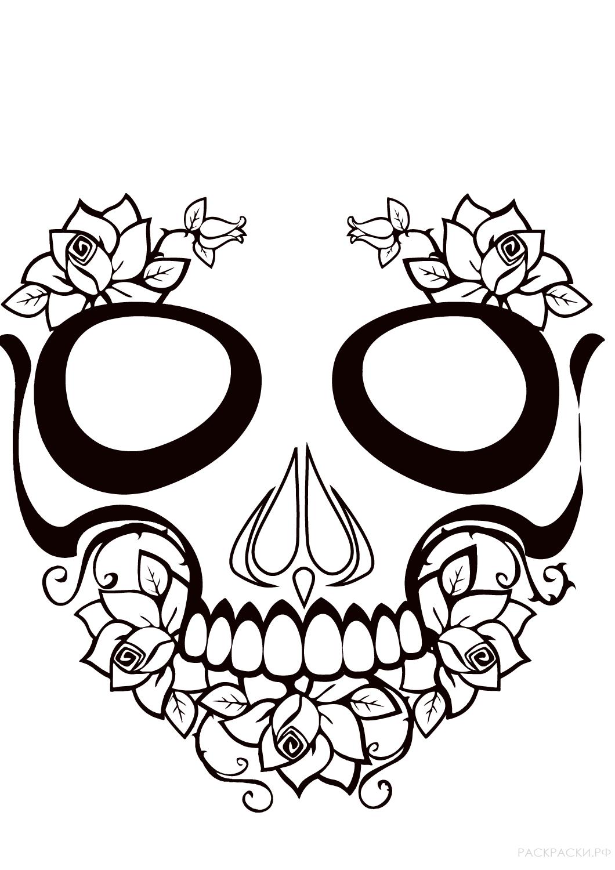 """Раскраска """"Калавера с цветами"""""""