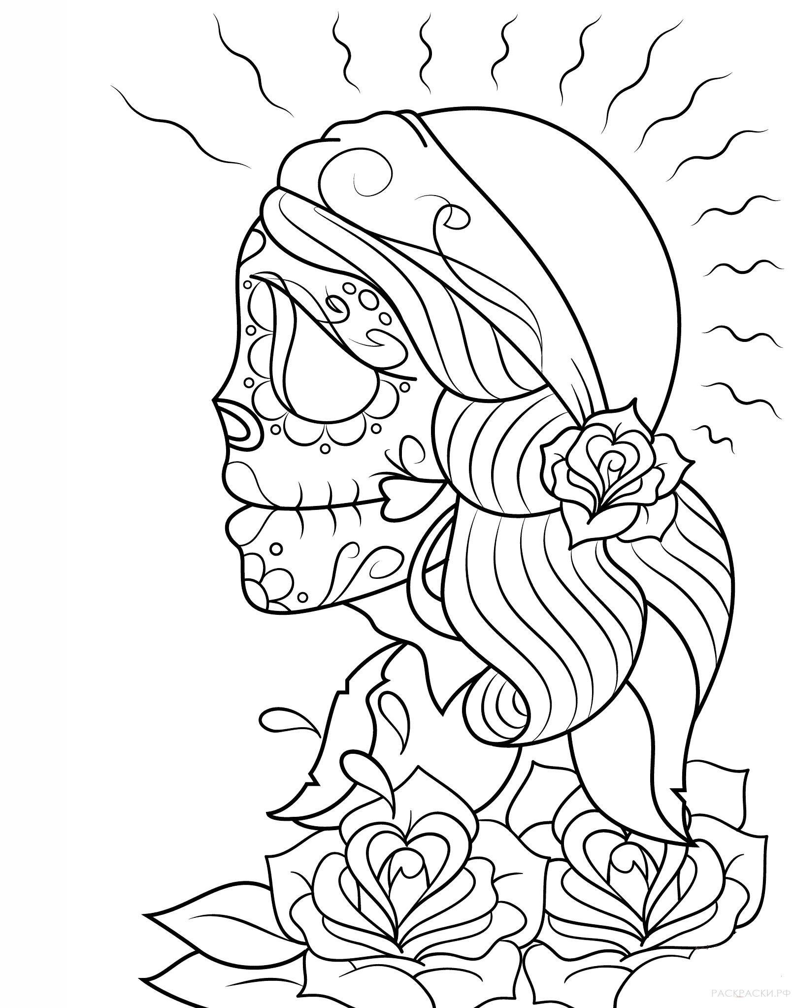 Раскраска Калавера девушки ко Дню мёртвых