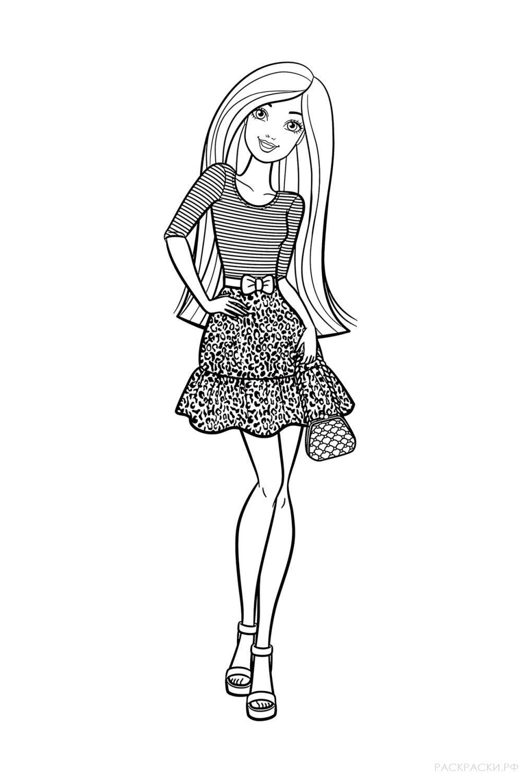 """Раскраска """"Барби в полосатой майке"""""""