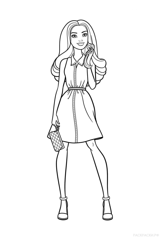 """Раскраска """"Барби в платье"""""""
