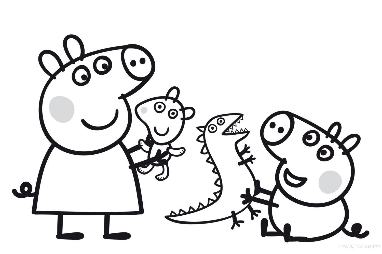 "Раскраска ""Свинка Пеппа и игрушки"""