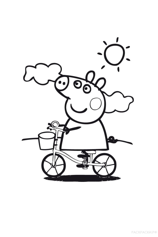 "Раскраска ""Свинка Пеппа на велосипеде"""