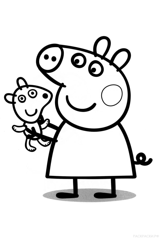 "Раскраска ""Свинка Пеппа с игрушкой"""