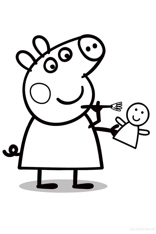 """Раскраска """"Свинка Пеппа раскрашивает куклу"""""""