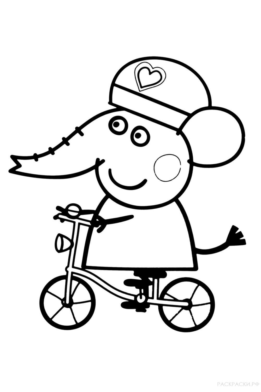 """Раскраска """"Слонёнок на велосипеде"""""""
