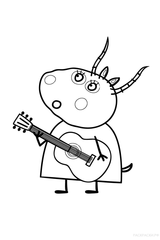 """Раскраска """"Мадам Газель с гитарой"""""""