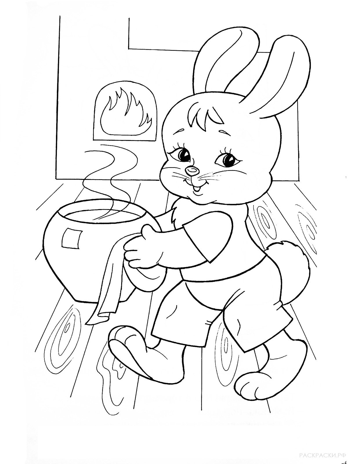 """Раскраска """"Заяц готовит есть в теремке"""""""