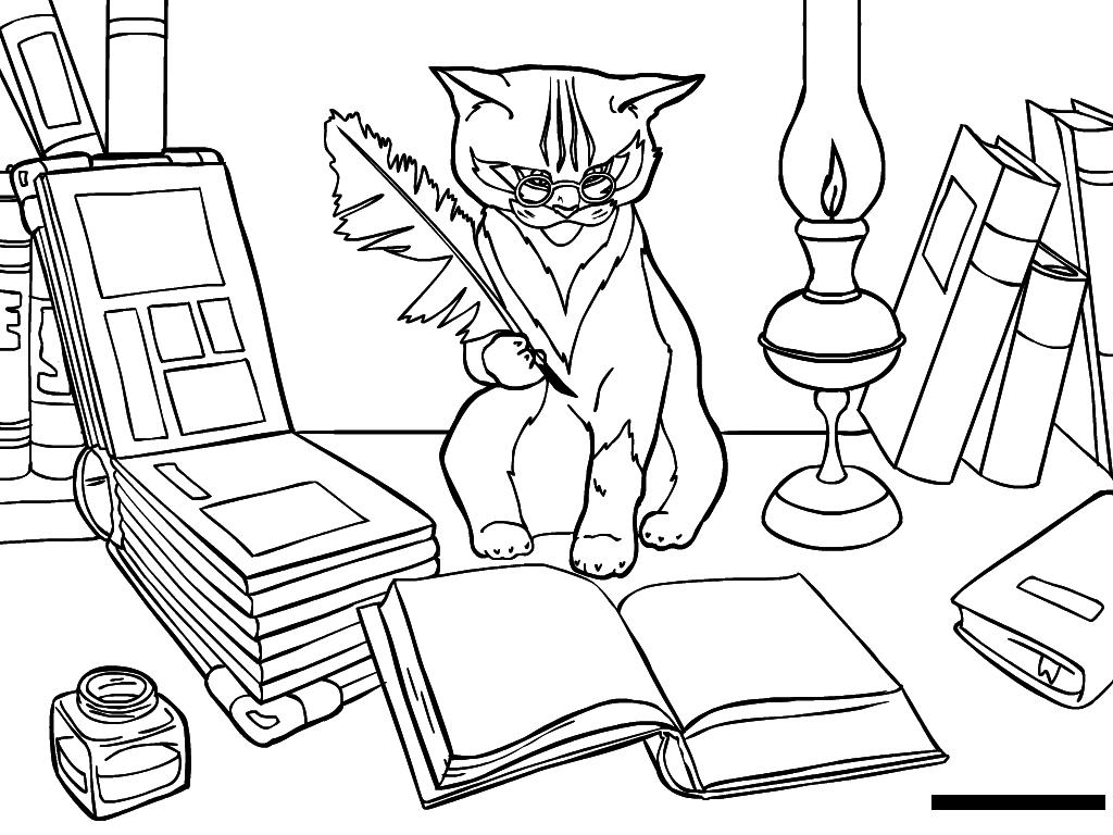 """Раскраска """"Кот ученый"""""""