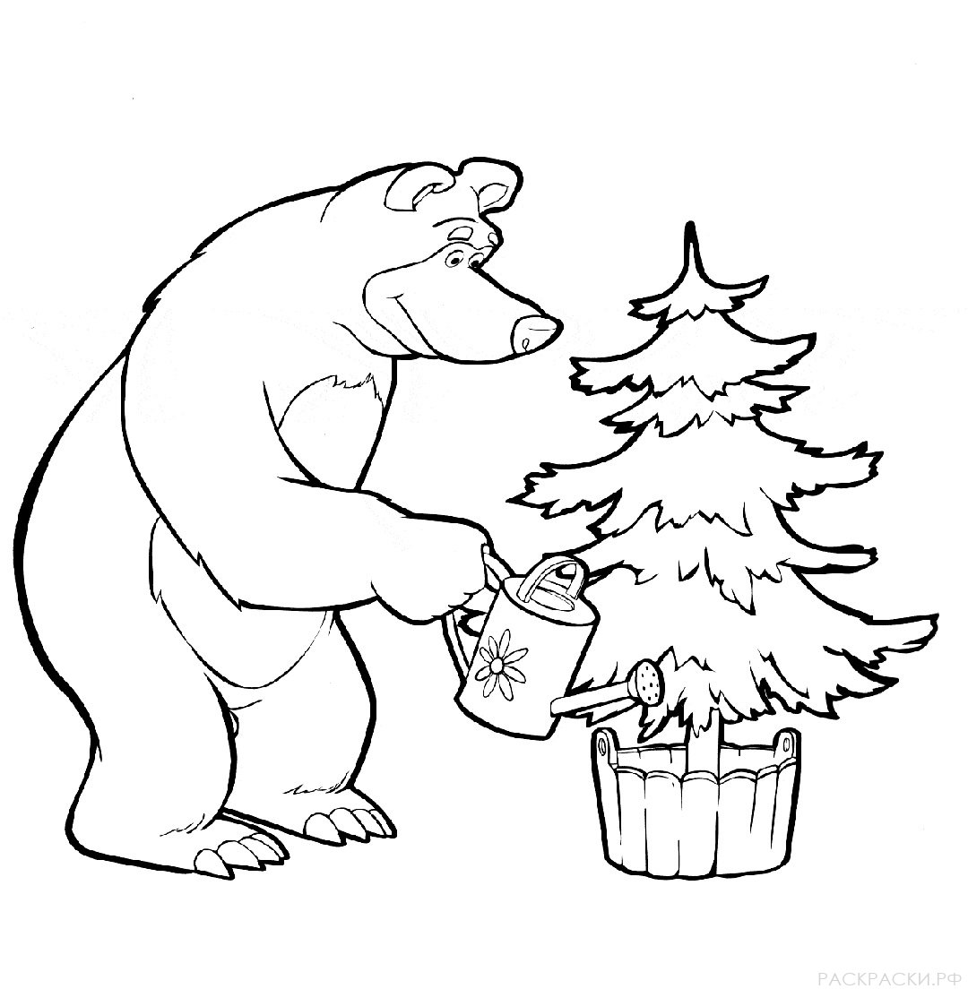 """Раскраска Маша и Медведь """"Медведь поливает ёлку ..."""